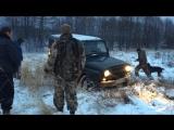 Колея от лесовоза против УАЗа