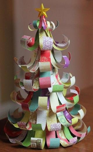 Ёлочные украшение своими руками из цветной бумаги