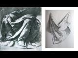 Как РИСОВАТЬ ДРАПИРОВКУ карандашом  Учимся Рисовать Складки Ткани. 1 Часть