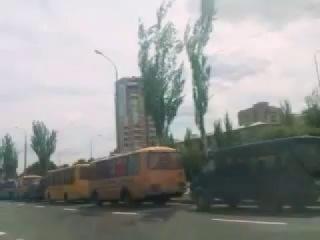 Автобусы в Донецке 11 мая, которыми свозили людей на праздник