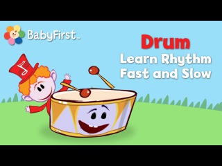 BabyFirstTV: Notekins Drum Learn Rhythm Fast and Slow | Learning Sounds of Musical Instruments
