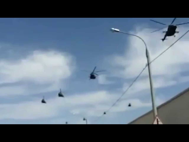 Российские вертолеты летят в Крым Russian helicopters fly in Crimea
