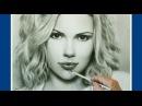 Portrait Drawing. Dry Brush Technique. Scarlett Johansson (Скарлетт Йоханссон). By Jakov Pulnov.