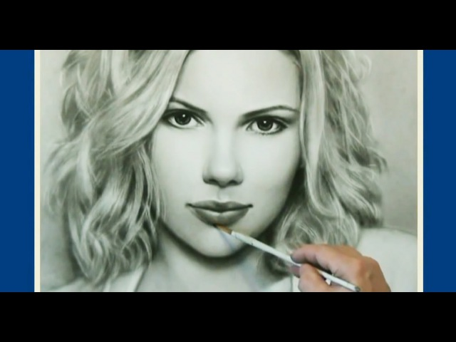 Portrait Drawing Dry Brush Technique Scarlett Johansson Скарлетт Йоханссон By Jakov Pulnov