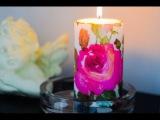 Декор свечи. Декупаж свечи. Декорирование салфетками