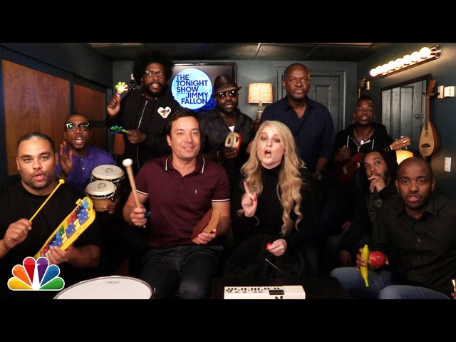 Jimmy Fallon Meghan Trainor The Roots Sing All About That Bass w Classroom Instruments