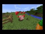Minecraft Ферма. Как сделать загон для животных, как приручать свиней, овец,  коров, волка, кур.