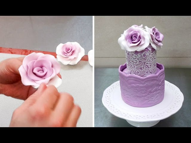 How To Form Gumpaste/Fondant ROSES without using any tools by Cakes StepbyStep