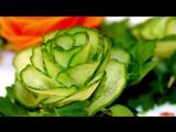 Украшение для салатов. Роза из огурца.