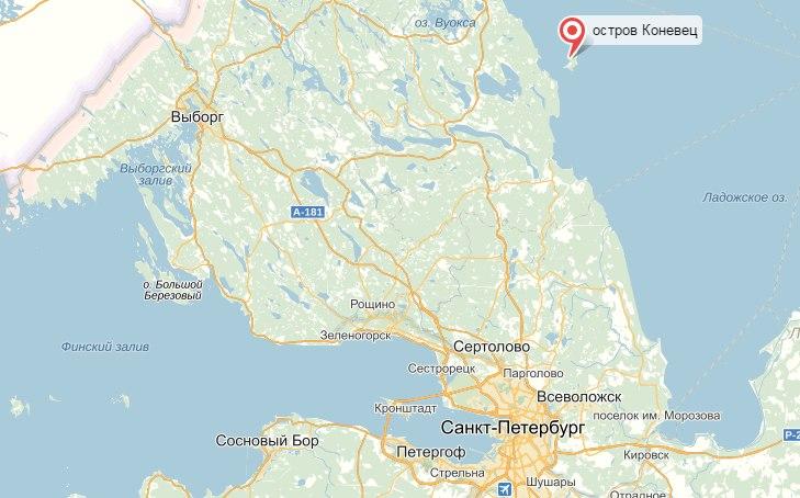 Остров Коневец на карте