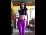 (CRAZY HOT) Dancing in Purple Legging Yoga Pants. Happy Labor Day, Everybody!