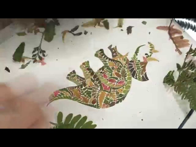 Triceratops made with pressed fern - Illustration Time lapse of Helen Ahpornsiri