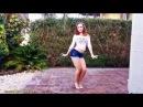 Sweet Blonde Teen Dancing. Lookbook: Jean Shorts, Tokyo Japanese Tank Top. Let's Get Funky!