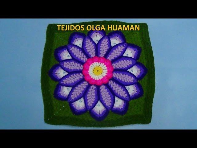 Cuadrado a crochet con Flor grande en punto rococo de 12 pétalos video 1
