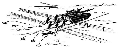 Преодоление минного поля по проходу вслед за танком.