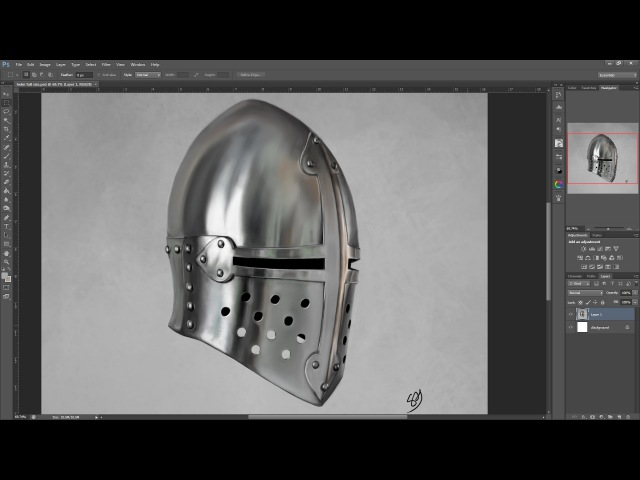 Medieval helm study shiny steel armour digital art How to draw