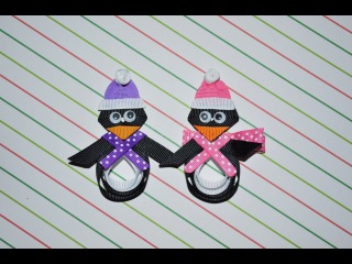 PENGUIN (My Favorite) Ribbon Sculpture Christmas Holiday Hair Clip Bow DIY Free Tutorial by Lacey