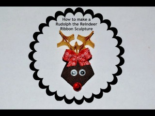 Rudolph REINDEER Ribbon Sculpture Christmas Holiday Hair Clip Bow DIY Free Tutorial by Lacey