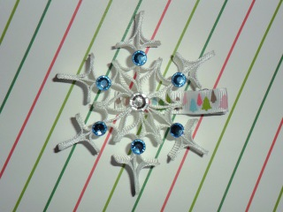 SNOWFLAKE Ribbon Sculpture Frozen Christmas Holiday Hair Clip Bow DIY Free Tutorial by Lacey
