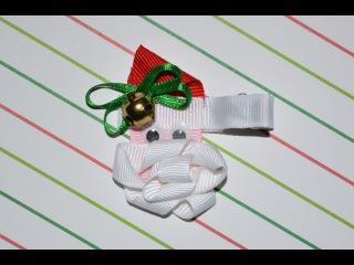 SANTA CLAUS Ribbon Sculpture Christmas Holiday Hair Clip Bow DIY Free Tutorial by Lacey