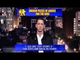Eminem pieces of advice for kids  david letterman late night show (FUNNY)