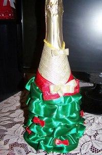 Новогодние бутылки шампанского своими руками лентами