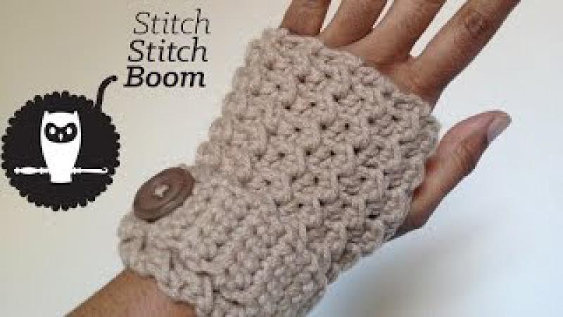 Crochet Tutorial Moss Stitch Fingerless Mittens