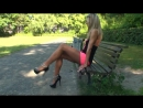 Pantyhose, Silky Fetish ∞ TAMIA CRUSHES 2 CIGARETTES, стройная девочка в розовой мини юбке на каблуках, секс в парке,  фетиш