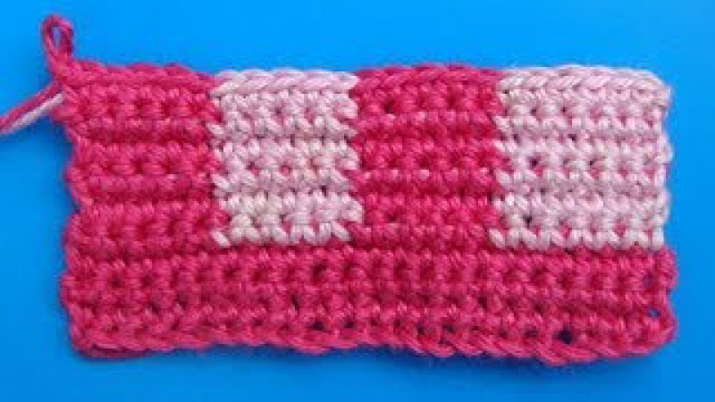 Двухцветное вязание из столбиков без накида - 332