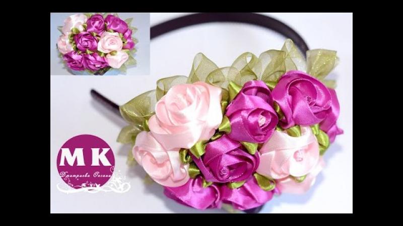 Мастер-класс Канзаши. Цветы из лент. Ободок на голову с букетом из Роз/Roses out of ribbon