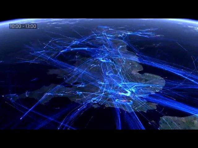24 Hour European Flight Traffic Visualization