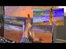 Уроки ИГОРЯ САХАРОВА ДЕВУШКА И ОРАНЖЕВОЕ море маслом