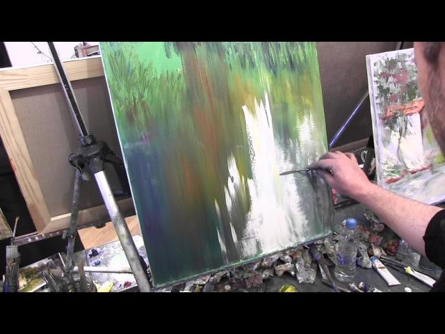 поросшая заводь научиться рисовать маслом уроки живописи в Москве Сахарова