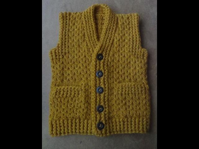 Жилет с карманами Часть 3 Левая полочка Vest knitting part 3