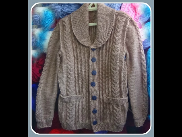 Жакет с шалевым воротником.Часть 3. Рукава и воротник. .Men's knitted jacket