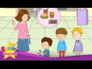 [Time] What time is it? We're late. - Easy Dialogue - English educational animation with subtitles.