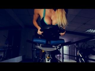 Topless DJ Aurika in sport gym (backstage)
