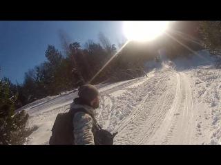 Встретил весну в Лемболово. 01.03.16 лыжный поход. я и одноглазый Кэн.