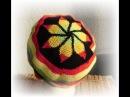 Растаманская шапка крючком с листьями на макушке, крючковый жаккард
