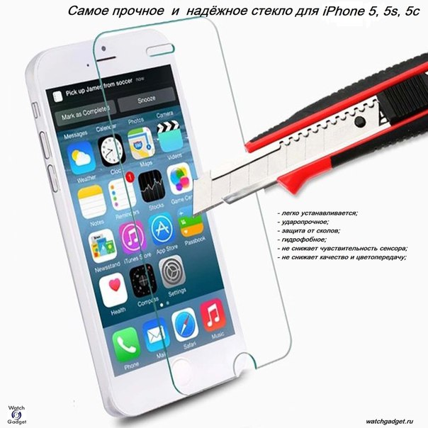 Защитное стекло для iPhone 5, 5s, 5c купить