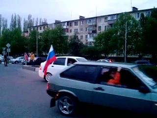 Авто на факельном шествии Старый Оскол 2015