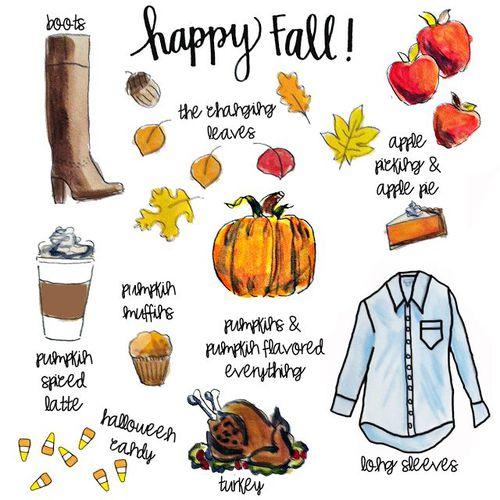 тыквы, яблоки и пироги, разноцветные листья, индейка, кофе, хэллоуинские штучки, сапоги и длинные рукава