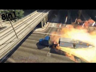 Трюк в ГТА 5 - прицеп от грузовика делает сальто над мостом и встаёт на место / GTA 5 - Semi Truck Stunt with C4 Nuke Mod