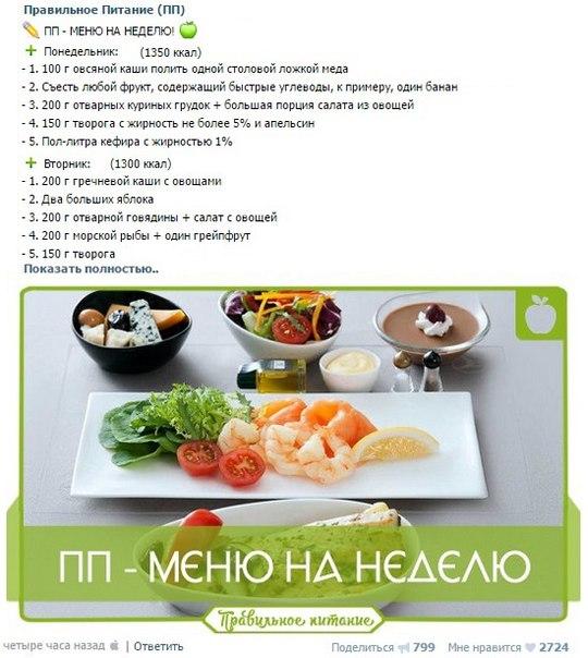 меню правильного питания на месяц с рецептами