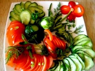 Овощные нарезки на праздничный стол.