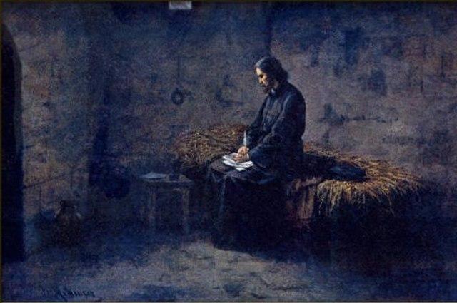 Йозеф Матхаузер. «Ян Гус в темнице».