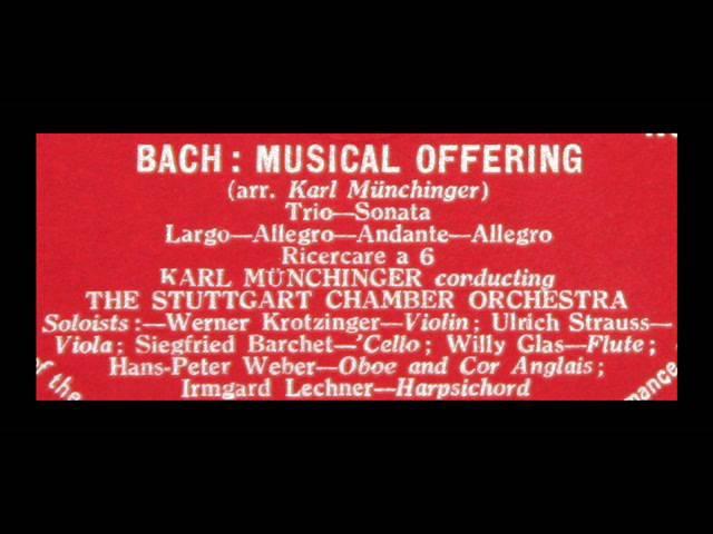 Bach Karl Munchinger, 1958 Musical Offering - Stuttgart Chamber Orchestra, Vinyl LP