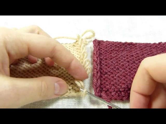 Трикотажный шов. Сшивание вязаных деталей крючком без дополнительной нити / Invisible knitted seam