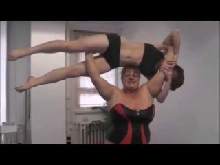 Big Strong BBW Lift up dominate and destroy a smaller Woman in Female Wrestling Anna KOnda
