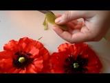 Мак из атласных лент, Уроки Канзаши для Начинающих DIY Poppy